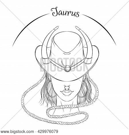 Zodiac. Vector Illustration Of The Astrological Sign Of Taurus As A Beautiful Fashion Girl In Hat. L