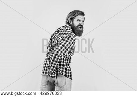 Mature Hipster With Beard Has Diarrhea. Brutal Caucasian Guy With Moustache. Rectal Problems. Bearde