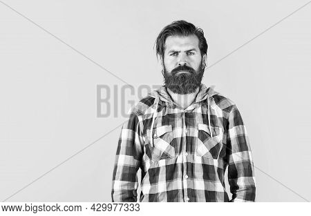 Mature Hipster With Beard Wear Checkered Shirt. Brutal Caucasian Hipster With Moustache. Male Barber