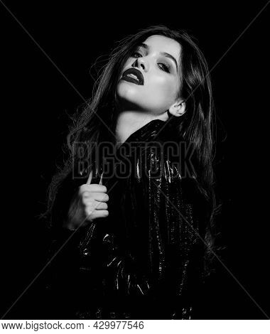 Impeccable Appearance. Mysterious Passionate Fashion Model. Passionate Attractive Woman Makeup Face.