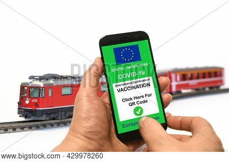 The Digital Green Pass Of The European Union With The Qr Code On Smartphone Held By The Hand With Th
