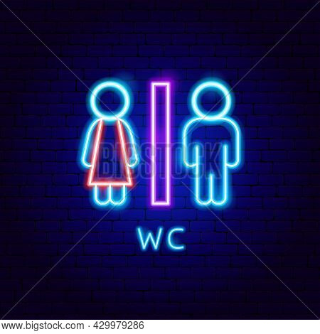 Wc Neon Label. Vector Illustration Of Water Closet Promotion.