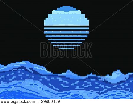Pixel Night Sea With Retro Moon. Full Moon Over The Ocean. Retro 8-bit Video Game Of The 90s In 2d.