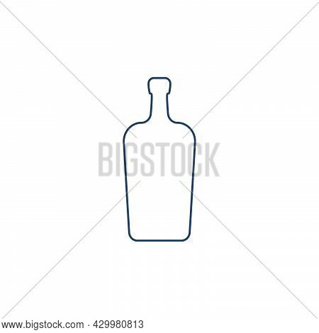 Liquor Bottle. Alcoholic Drink For Parties And Celebrations. Simple Black Line Shapes Isolated. Blac