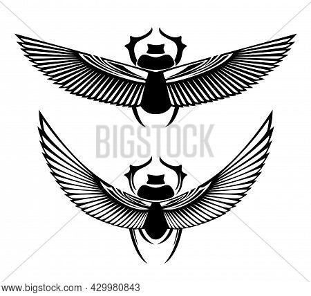 Sacred Scarab Beetle With Spread Wings Black And White Vector Design Set - Ancient Egyptian Symbol O