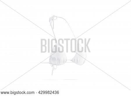 Blank White Woman Bikini Bodice Mock Up, Side View, 3d Rendering. Empty Nylon Microkini Bra For Reso