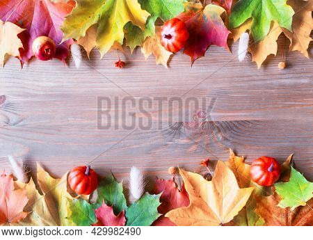 Autumn background. Autumn leaves on the wooden background. Fall background. Maple fall leaves on the wooden background with free space for text, autumn concept, autumn card  autumn border, autumn frame
