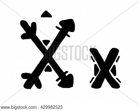 African Culture Vector Alphabet Black Color Isolated On Whute Background. Letter X Symbol. Antique A