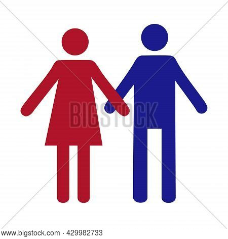 Pictograph Of People. Flat Icon Of Modern Couple. Man And Woman Holding Hands. Icon Of Trust, Friend