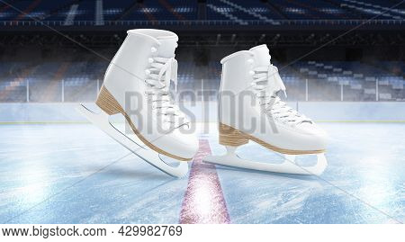 Blank Ice Rink Surface With Skates Background Mockup, Side View, 3d Rendering. Empty Winter Stadium