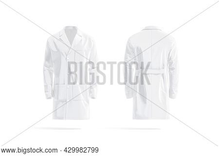 Blank White Medical Lab Coat Mockup, Front And Back View, 3d Rendering. Empty Medicine Robe With Poc