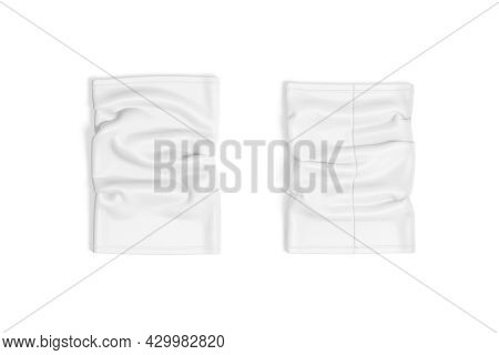 Blank White Neck Gaiter Mockup, Front And Back, Top View, 3d Rendering. Empty Headband Or Face Mask