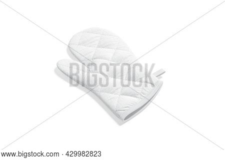 Blank White Oven Mitt Mockup Front, Side View, 3d Rendering. Empty Neoprene Hot Pad For Furnace Culi