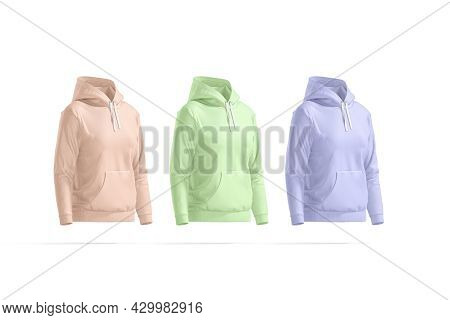 Blank Colored Women Sport Hoodie Mock Up, Side View, 3d Rendering. Empty Pink, Green And Blue Jumper