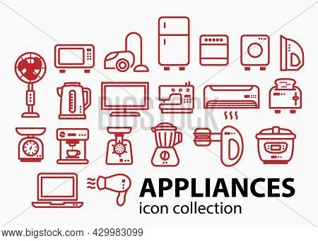 Modern Minimalist Home Appliance Store Licon Set. 20 Different Elements Of Household Appliances.