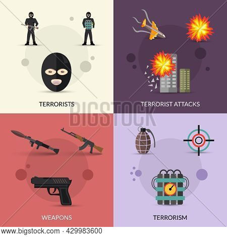 Terrorism Design Concept Set With Terrorist Attacks And Weapons Flat Icons Set Isolated Vector Illus