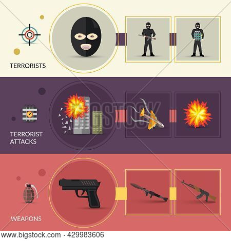 Terrorism Horizontal Banners Set With Terrorist Weapons And Attacks Flat Elements Isolated Vector Il