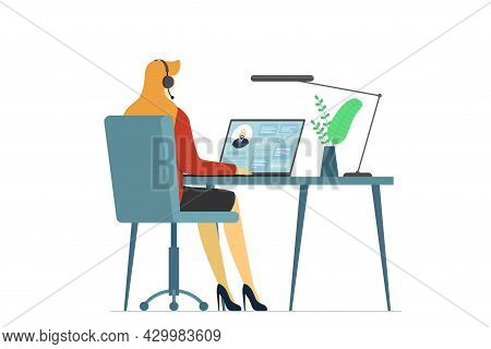 Call Center Operator Woman And Client Information On Laptop Screen. Female Hotline Or Cold Calling E