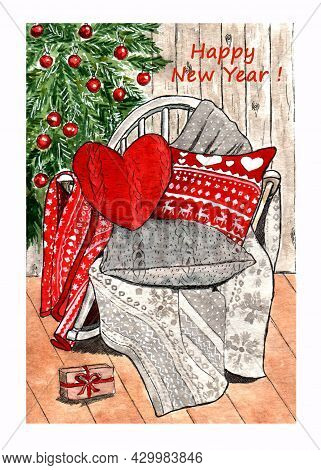 Christmas Atmosphere, A Chair Against The Background Of A Christmas Tree With Beautiful Pillows And