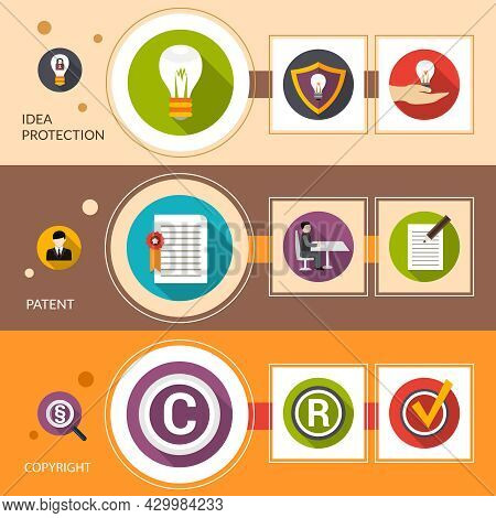 Patent Idea Protection Horizontal Banner Set With Copyright Flat Elements Isolated Vector Illustrati