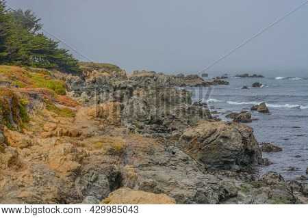 The Rocky Coastline At Mackerricher State Park On The Pacific Ocean In Fort Bragg, Mendocino County,
