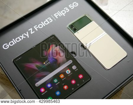 Bangkok, Thailand - August 11, 2021: Samsung Officially Launches The Latest Foldable Flagship Smartp