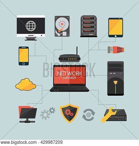 Computer Network Concept With Hardware And System Protection Flat Icons Vector Illustration