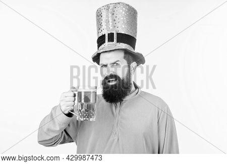 Green Color Part Of Celebration. Irish Beer Pub. Celebration Irish Culture. Man Bearded Hipster Hat