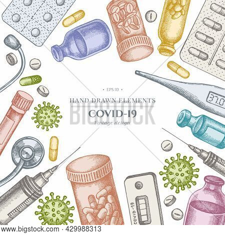 Design With Pastel Colored Vial Of Blood, Pills And Medicines, Medical Thermometer, Coronavirus Rapi