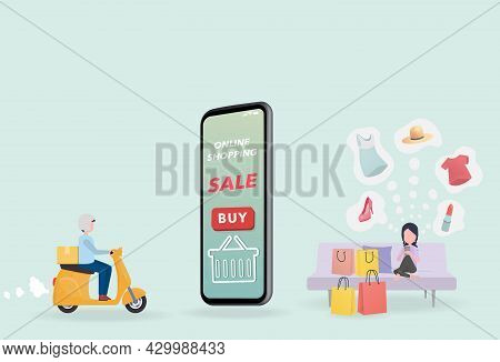 Woman Sitting On Sofa Using Mobile Phone Online Shopping. After Ordering A Motorcycle Delivery Will