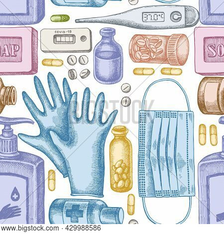 Seamless Pattern With Hand Drawn Pastel Pills And Medicines, Medical Face Mask, Sanitizer Bottles, M