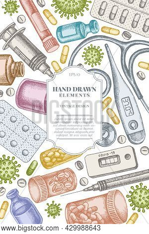 Card Design With Pastel Vial Of Blood, Pills And Medicines, Medical Thermometer, Coronavirus Rapid T