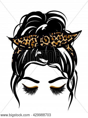 Beautiful Woman With Leopard Beautiful Lashes And Cheetah Print Bandana. Lady Mom With Messy Bun, Ge