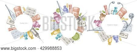 Frames With Pastel Vial Of Blood, Pills And Medicines, Medical Thermometer, Coronavirus Rapid Test,