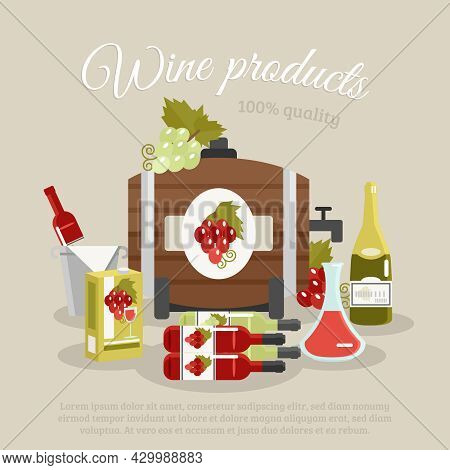 Wine Products Tagline Still Life With Bottles And Keg Flat Poster Vector Illustration
