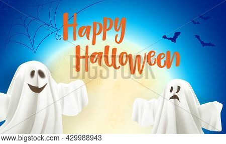 Happy Halloween. Ghost And Bats Poster On The Moon Background. Ghost On Blue Background With Text Ha