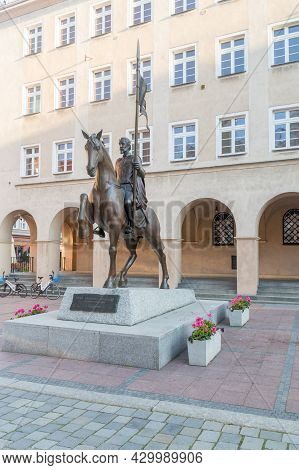 Opole, Poland - June 4, 2021: Monument To Casimir I Of Opole, Member Of The Piast Dynasty, Was A Sil
