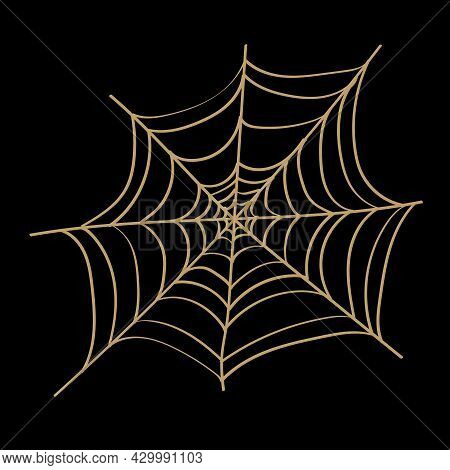 Spider Web Isolated On Wite Background. Spooky Spider Web For Halloween Decoration.