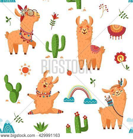 Llama Seamless Pattern. Creative Fabric Alpaca Print, Cartoon Animal And Cactus. Childish Cute Wild