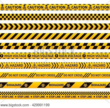 Caution Ribbons. Construction Tape, Black Yellow Forensic Seamless Pattern Sign. Warning Hazard, Iso