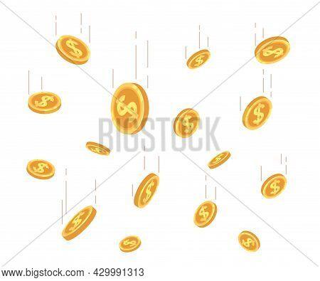 Money Coins Rain. Golden Coin Rain, Wealth Falling From Above. Lottery Winning, Cartoon Cash Drop. F