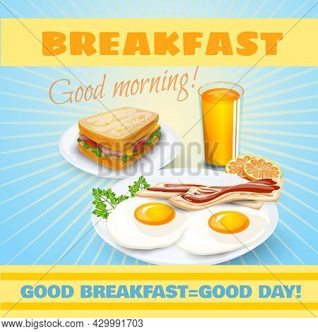 Classic Breakfast Motel Advertisement Retro Poster With Ham Sandwich And Fried Eggs Bacon Pictograms