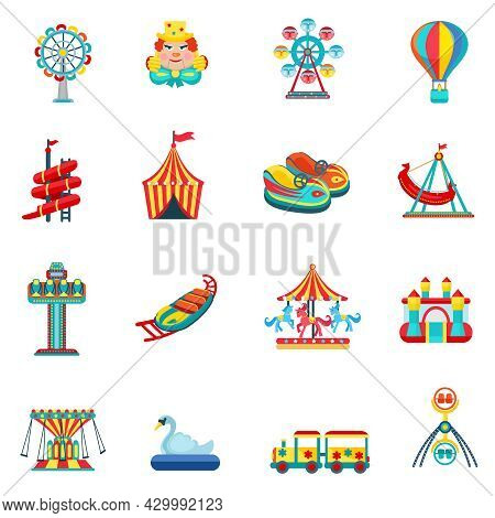 Amusement Park For Children With Attractions And Fun Icons Set Flat Isolated Vector Illustration