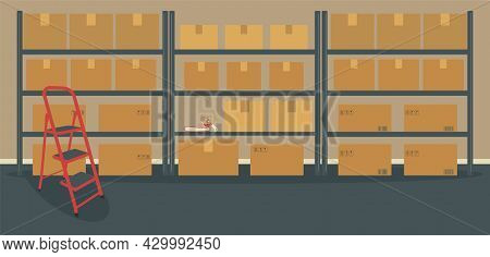 Warehouse Or Storeroom: Racks With Cardboard Boxes And Ladder.cargo In Packages, Tape Dispenser And