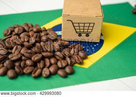 Coffee Beans On Brazil Flag; Import Export Drink Food Concept. Flag, Import Export Drink Food Concep