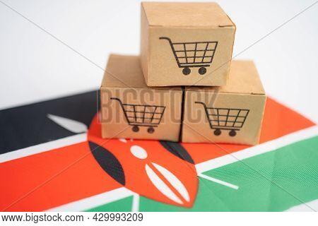 Shopping Cart Logo With Kenya Flag, Shopping Online Import Export Ecommerce Finance Business Concept