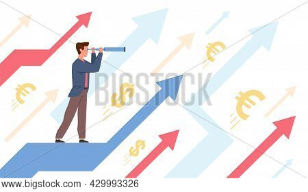 See Future. Man Looks Distance Through Telescope, Finance Plans And Development Perspective, Busines
