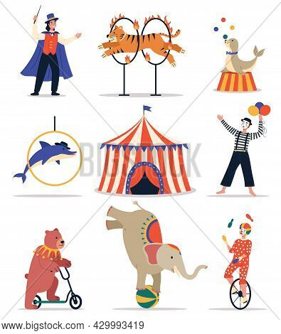 Circus Animals. Funny Trained Animals. Show Elements Hoops, Bollards And Balls, Circus Tent, Cartoon