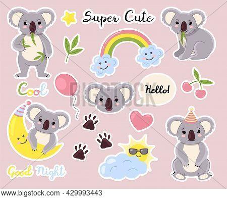 Cute Animals Stickers. Fauna Labels, Cute Fluffy Little Bears, Koalas Characters, Kids Weather Eleme