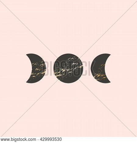 Three Moon Phases Vector Illustration In Boho Style. Black Moons With Golden Texture, Trendy Contemp